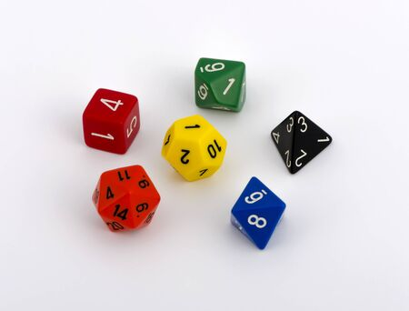 colorful multi sided dice isolated white background