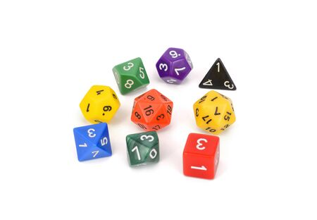colorful multi sided role play game dice isolated white background