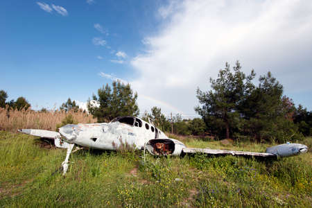 peril: abandoned plane and rainbow