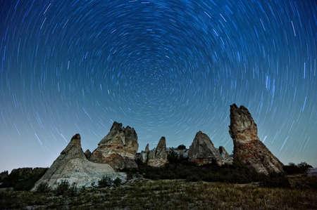 Phrygian Valley Long Exposure Star Trail Image, opium; Turkey