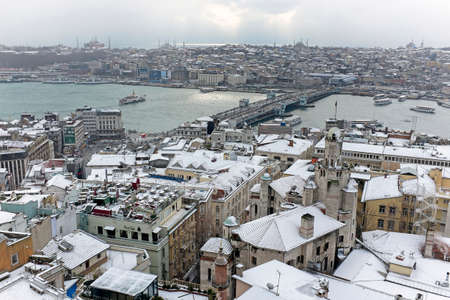 estuary: View on the Bosphorus Istanbul from the Galata Tower and winter