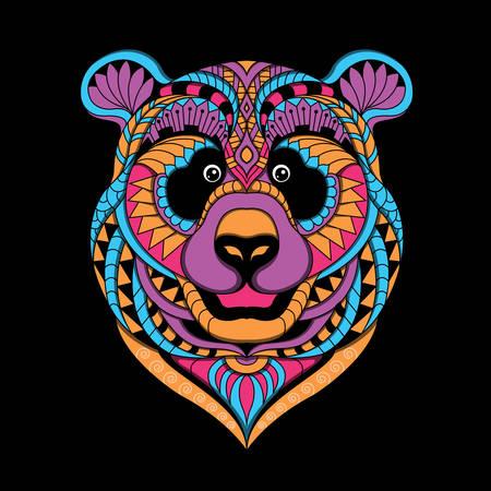 Stylized panda in ethnic Illustration
