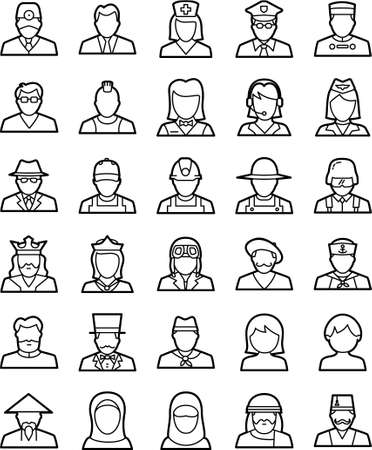 Set of simple line icons that represent avatars,humans with different roles in   life,ready to use in any project that needs high visibility and quality.