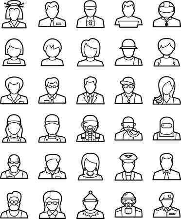 People-2 is a set of simple line icons that represent avatars,humans with different roles in   life,ready to use in any project that needs high visibility and quality. These are vectors   designed in proper style to visualize them correctly in different s