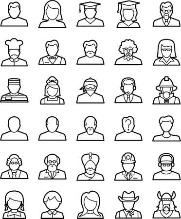 People-1 is a set of simple line icons that represent avatars,humans with different roles in   life,ready to use in any project that needs high visibility and quality. These are vectors   designed in proper style to visualize them correctly in different s Illustration