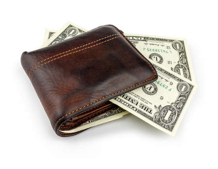 Economy and finance.Closeup old leather brown wallet with dollar isolated on white background.Saving for shopping and corruption concept