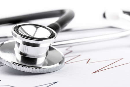 Doctor stethoscope for cardiac on white background.Equipment of physician for diagnose heartbeat in hospitality.Health care and physical examination concept.