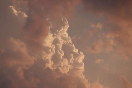 close up of red clouds in sunset , weather concept for rain season, red clouds the signal of weather changing, beautiful sky in rain clouds ,clouds background and texture , in the sky covered clouds Stock Photo