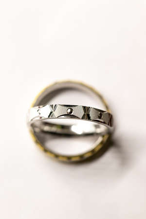 detail of silver round ring on white background