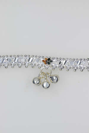 Fancy Crystal Sterling Silver flowers Beaded Anklet design for Women & Girls , anklet jewelry