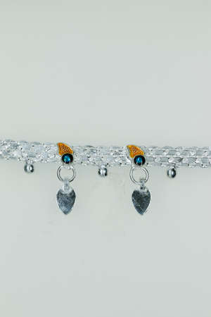 Pure Stunning Silver Fancy Payal Anklet design for Girls and women, anklet design Stock Photo