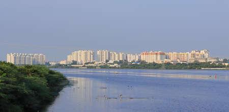 Chennai, Tamil nadu , India . Oct 07,2020.Huge modern new apartment buildings near OMR Road, Chennai city, rental house property 新闻类图片