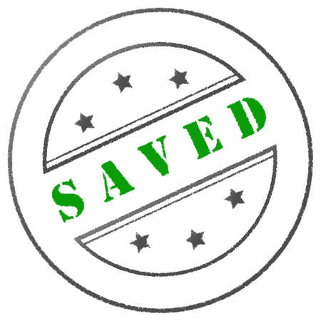 saved: Round green-grey approval stamp