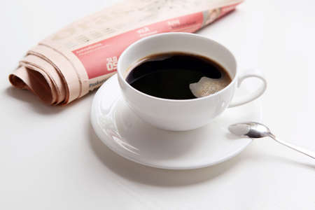 Morning coffee and newspaper photo