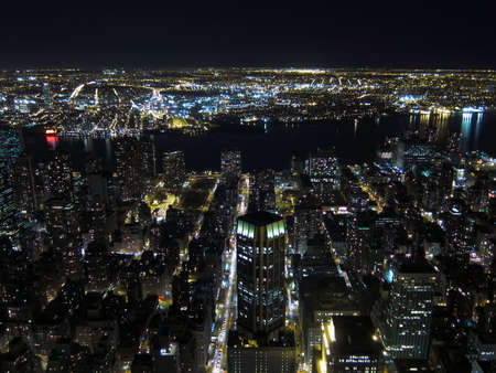 Aerial view of New York at night photo