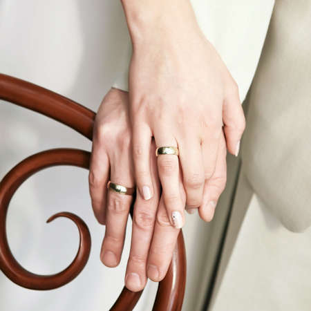 jewel hands: Just married young couple showing up their rings