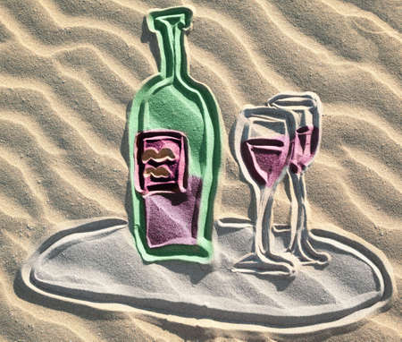 Colored drowing of red wine bottle on sand photo