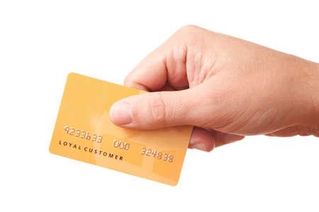 unidentified: Mano tengas tarjeta de pl�stico no identificado  Foto de archivo