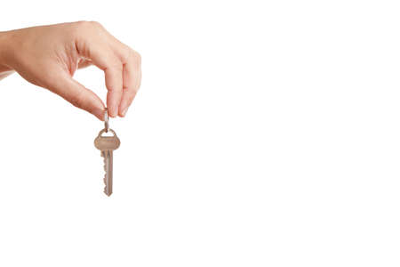 Background with hand, holding modern key photo