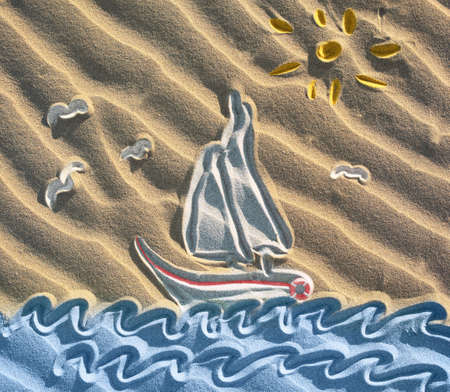 Colored drawing of sailboat on sand photo