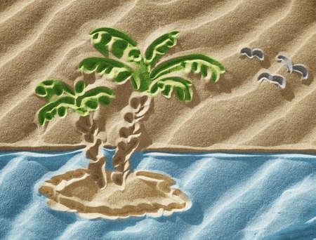 onbewoond: Tekening op zand - klein onbewoond eiland