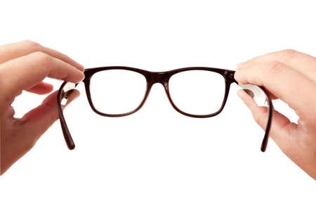 lentes de contacto: Poniendo a su galsses en isolaited en blanco