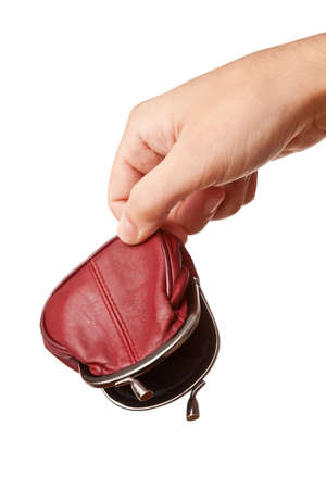 Hand holding empty money pouch, isolated on white  photo