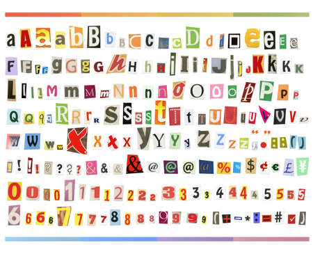 abc blocks: Big size clipping alphabet (cutout from newspapers and magazines) with numbers and simbols, isolated on white background