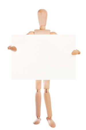 Wooden dummy showing up blank paper card, isolated on white background, copy space for your text Stock Photo - 9280426