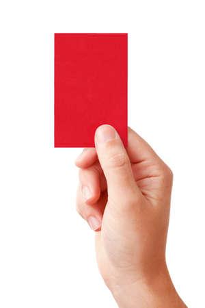 Hand van een rechter weergegeven: negatieve beslissing symbool - rode kaart, geïsoleerd op witte achtergrond Stockfoto
