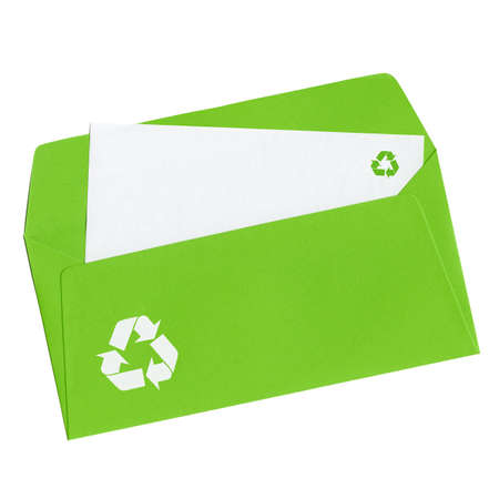 Recycling sign on a blank letter in open green envelope, isolated on white background photo