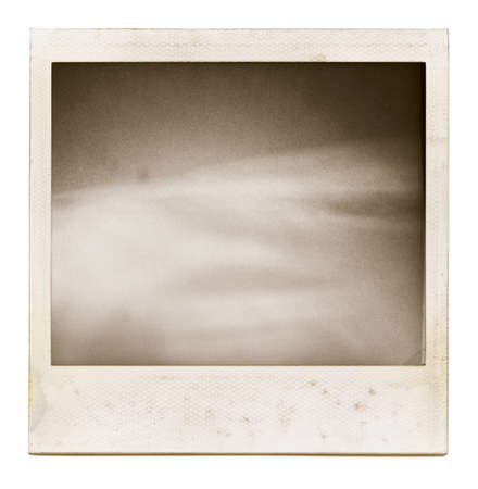 color photographs: Designed grungy instant film frame with abstract filling isolated on white, kind of background, vintage hard grain effect added