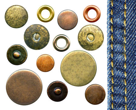 stitches: Set of various jeans metal rivets and buttons, isolated on white background