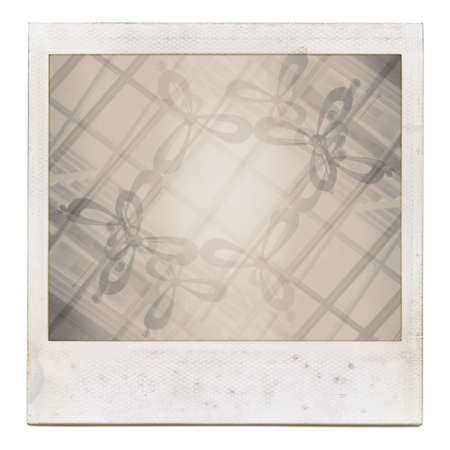 Designed grungy instant film frame with abstract filling isolated on white, kind of background, vintage grain effect added