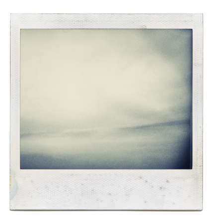 emulsion: Designed grungy instant film frame with abstract filling isolated on white, kind of background, vintage hard grain effect added