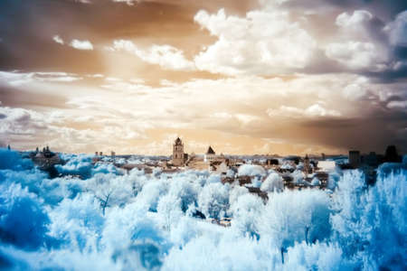 Color infrared panorama lansdcape of Old Town in Vilnius, Lithuania photo