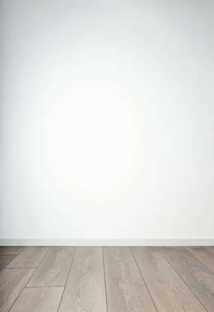 Empty room - white wall an wooden flooring photo