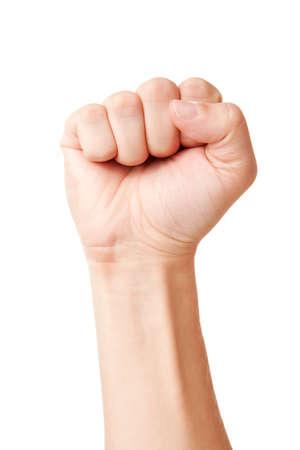 pu�os: Detalle de la mano derecha masculino - levantado pu�o cerrado, aislado sobre fondo blanco