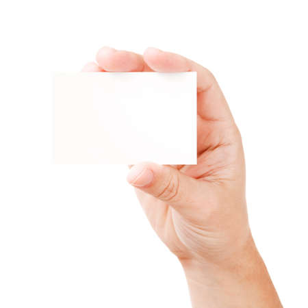 Businessman's hand holding blank paper business card, closeup isolated on white background Stock Photo - 10103662