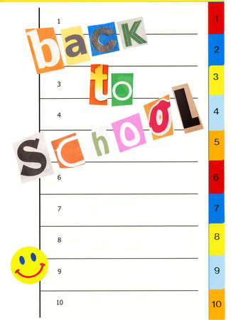 personal data: Back to school concept: organizer notebook with funny paper cutout letters and color bookmarks, copy space for your info Stock Photo