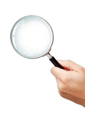 Hand of a man holding magnifying glass photo