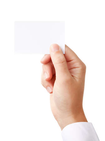 Hand of a businessman holding blank paper card Stock Photo - 10400062