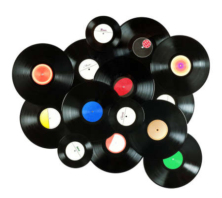 turntables: Abstract music colorful background made of vintage vinyl records, isolated over white background, all labels designed by myself Stock Photo