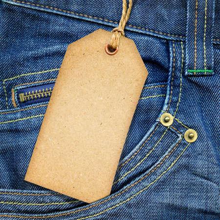 etiquetas de ropa: Etiqueta de papel vintage de mezclilla azul