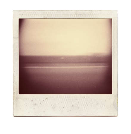 Designed grungy instant film frame with abstract filling isolated on white, kind of background, vintage hard grain effect added    photo