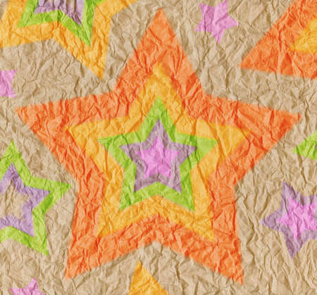 crinkle: Designed crumpled vintage paper background with stars of bright rainbow colors