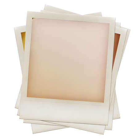 A pile of grungy blank instant film frame with abstract  filling, isolated on white, kind of a background, vintage hard grain effect added photo