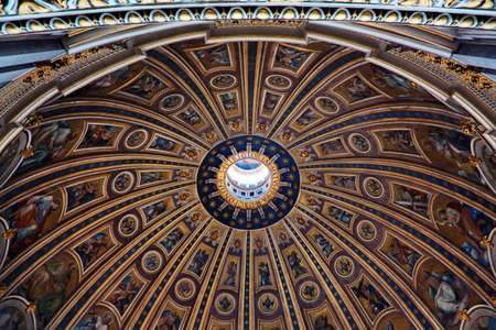 The ceiling in cupola of St Peter Basilica