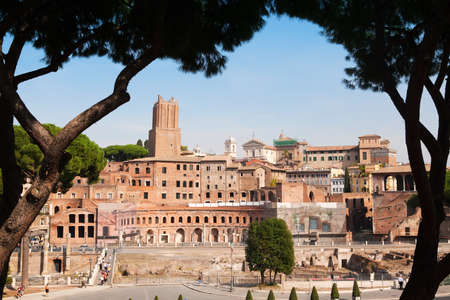 roman empire: Pictoresque view on antic Rome ruins, Italy Stock Photo