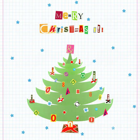Artistic collage 'cartoon style' postcard - text 'Merry Christmas!' & green decorated  Christmas tree  made from cutout magazine fonts on checkered paper photo